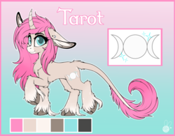 Size: 2988x2328 | Tagged: artist:meggchan, blue eyes, chest fluff, classical unicorn, cloven hooves, curved horn, ear piercing, female, floppy ears, fluffy, freckles, leonine tail, long mane, long tail, looking at you, mare, oc, oc only, oc:tarot, palomino, piercing, pink mane, pony, reference sheet, safe, smiling, solo, underhoof, unicorn, unshorn fetlocks