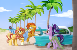 Size: 1024x662 | Tagged: safe, artist:kellythedrawinguni, starlight glimmer, sunburst, sunset shimmer, trixie, bird, pony, unicorn, beach, bipedal, brother and sister, butt, car, car:classic era, clothes, cloud, cute, discussion in the comments, dress, eye contact, featured image, female, hat, hoof hold, lidded eyes, looking at each other, looking back, male, mare, palm tree, plot, raised hoof, raised leg, see-through, siblings, sky, smiling, smirk, squee, stallion, sunburst gets all the mares, sundress, sunglasses, sunny siblings, tree, underhoof, walking, water, waving
