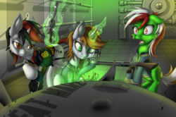 Size: 3832x2550   Tagged: safe, artist:ravvij, oc, oc only, oc:blackjack, oc:littlepip, oc:wandering sunrise, earth pony, pony, unicorn, fallout equestria, fallout equestria: dead tree, fallout equestria: project horizons, balefire, balefire bomb, bedroom eyes, blackjack, bomb, cheek fluff, clothes, come hither, confused, cute, cutie mark, drool, dropping, ear fluff, fallout, fanfic, fanfic art, fat mare, female, floating, floppy ears, fluffy, glow, glowing horn, green, grin, gun, handgun, hooves, horn, leg fluff, levitation, lights, little macintosh, magic, mare, muzzle fluff, open mouth, pipbuck, revolver, shock, shotgun, sitting, small horn, smiling, spit, standing, teeth, telekinesis, toaster repair pony, trapped, wandering sunrise