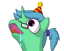 Size: 1500x1200 | Tagged: safe, artist:irvau, oc, unicorn, drool, glasses, hat, party hat, ponytail, sharp teeth, simple background, solo, teeth, transparent background