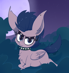 Size: 1844x1940 | Tagged: safe, artist:dragonpone, derpibooru exclusive, oc, oc only, pegasus, pony, cheek fluff, chest fluff, crossed hooves, ear fluff, ear piercing, earring, eyeshadow, female, jewelry, lidded eyes, looking at you, makeup, mare, moon, night, night sky, piercing, prone, punk, sky, solo, stars