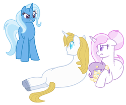 Size: 1024x851 | Tagged: artist:bellalovesans04, baby, baby pony, base used, female, filly, fleur-de-blueblood, fleur-de-lis, implied bluetrix, implied shipping, implied straight, male, oc, oc:silver star, offspring, parent:fleur-de-lis, parent:prince blueblood, parents:fleur-de-blueblood, pony, prince blueblood, safe, shipping, simple background, story included, straight, trixie, unicorn, white background
