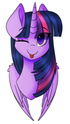 Size: 1863x3251 | Tagged: alicorn, artist:imbirgiana, bust, cute, female, looking at you, mare, mi amores, one eye closed, pony, safe, silly, simple background, tongue out, transparent background, twiabetes, twilight sparkle, twilight sparkle (alicorn), wink