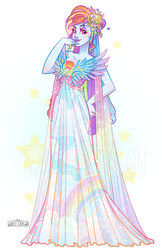 Size: 906x1400 | Tagged: safe, artist:flying-fox, rainbow dash, human, beautiful, clothes, dress, female, hand on hip, humanized, model, modeling, rainbow dash always dresses in style, solo