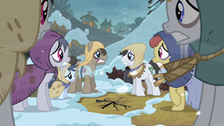 Size: 1280x720 | Tagged: background pony, bags under eyes, burlap, cold, earth pony, earth pony tribe, female, filly, hearth's warming eve, hearth's warming eve (episode), lucky clover, male, mare, peasant, pony, rags, safe, screencap, snow, stallion