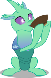 Size: 3291x5000 | Tagged: artist:dashiesparkle, bowl, changedling, changeling, drinking, safe, simple background, sitting up, solo, soupling, spoiler:s07e17, .svg available, to change a changeling, transparent background, vector