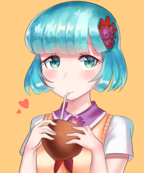 Size: 800x960 | Tagged: safe, artist:tzc, coco pommel, human, anime, clothes, cocobetes, coconut, coconut cup, cute, drinking, drinking straw, female, food, heart, human coloration, humanized, kava bilo, looking at you, name pun, pun, simple background, solo, straw, visual pun