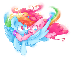 Size: 4510x3841 | Tagged: dead source, safe, artist:pinkablue, pinkie pie, rainbow dash, earth pony, pegasus, pony, cute, dashabetes, diapinkes, female, flying, happy, lesbian, mare, pinkiedash, ponies riding ponies, shipping, simple background, transparent background