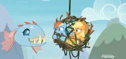 Size: 1541x722 | Tagged: safe, screencap, applejack, ocellus, rainbow dash, biteacuda, earth pony, fish, pegasus, pony, non-compete clause, cage, discovery family logo, disguise, disguised changeling, distraction, fangs, female, flying, mare, trio, vine