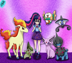 Size: 1500x1300 | Tagged: artist:liniitadash23, axew, backpack, clothes, crossover, cute, deino, equestria girls, equestria girls series, espeon, glasses, lampent, looking at you, nintendo, pokémon, ponyta, ponytail, rowlet, safe, sci-twi, shoes, skirt, socks, twilight sparkle