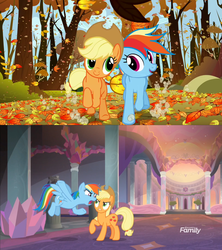 Size: 1280x1440 | Tagged: safe, edit, edited screencap, screencap, applejack, rainbow dash, pony, fall weather friends, non-compete clause, comparison, duo, ending, hypocritical humor, non-compete clause drama, running of the leaves