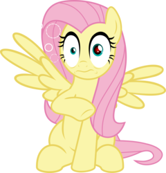 Size: 5276x5490 | Tagged: safe, artist:jhayarr23, fluttershy, pegasus, pony, non-compete clause, absurd resolution, faic, female, mare, raised hoof, reaction image, red eye, shocked, simple background, sitting, solo, spread wings, squeans, stunned, transparent background, vector, wings