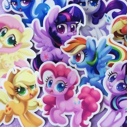Size: 1200x1200 | Tagged: safe, artist:dawnfire, applejack, fluttershy, pinkie pie, rainbow dash, rarity, starlight glimmer, sunset shimmer, trixie, twilight sparkle, alicorn, earth pony, pegasus, pony, unicorn, chibi, cowboy hat, cute, dashabetes, diapinkes, diatrixes, featured image, female, flying, glimmerbetes, grin, hat, jackabetes, lidded eyes, looking at you, mane nine, mane six, mare, open mouth, raised hoof, raribetes, shimmerbetes, shyabetes, smiling, spread wings, squee, sticker, twiabetes, twilight sparkle (alicorn), wallpaper, wings