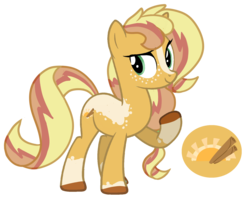 Size: 1728x1366 | Tagged: safe, artist:unicorn-mutual, oc, oc:cinnamon sunrise, earth pony, pony, cutie mark, magical lesbian spawn, male, offspring, parent:applejack, parent:sunset shimmer, parents:appleshimmer, simple background, solo, stallion, transparent background