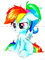 Size: 1596x2129   Tagged: safe, artist:liaaqila, rainbow dash, pegasus, pony, blank flank, commission, cute, dashabetes, female, filly, filly rainbow dash, grumpy, grumpy dash, mare, ponytail, simple background, solo, traditional art, unamused, white background, younger