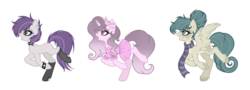 Size: 1024x367 | Tagged: artist:mintoria, clothes, dress, earth pony, female, mare, oc, oc only, pegasus, pony, safe, scarf, simple background, socks, transparent background, unicorn