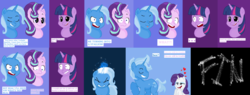 Size: 2972x1128 | Tagged: safe, artist:arrabelahmanalo, rarity, starlight glimmer, trixie, twilight sparkle, pony, female, half r63 shipping, lesbian, male, rarixie, rule 63, shipping, startrix, straight, tristan