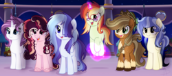 Size: 4833x2145 | Tagged: safe, artist:6-fingers-lover, artist:xxmelody-scribblexx, oc, oc only, oc:fireball, oc:ghost heart, oc:lucky hoof, oc:smooth blue, oc:strong heart, oc:sugar cane, earth pony, pegasus, pony, unicorn, base used, bust, female, levitation, magic, magical lesbian spawn, mare, movie accurate, offspring, parent:applejack, parent:bulk biceps, parent:doctor fauna, parent:fluttershy, parent:pinkie pie, parent:rainbow dash, parent:rarity, parent:sugar belle, parent:sunset shimmer, parent:troubleshoes clyde, parent:twilight sparkle, parents:faunashy, parents:raribulk, parents:sugarpie, parents:sunsetdash, parents:troublejack, parents:twidash, self-levitation, socks (coat marking), telekinesis