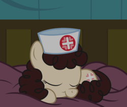 Size: 2037x1710 | Tagged: artist:badumsquish, bed, curled up, curly mane, cute, derpibooru exclusive, earth pony, eyes closed, female, filly, foal, hat, hospital, nurse, nurse hat, nursery rhyme, offscreen character, on lap, pony, pov, prone, safe, sleeping, smiling, solo, story included, :t