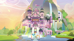 Size: 1600x900 | Tagged: safe, screencap, gallus, ocellus, sandbar, silverstream, smolder, yona, pony, non-compete clause, afternoon, architecture, building, discovery family logo, scenery, scenery porn, school of friendship, student six, waterfall