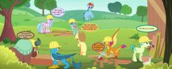 Size: 1280x512 | Tagged: safe, edit, edited screencap, screencap, applejack, gallus, ocellus, rainbow dash, sandbar, silverstream, smolder, yona, changedling, changeling, earth pony, griffon, yak, non-compete clause, apple, apple tree, applejack's hat, boards, cowboy hat, cropped, food, hard hat, hat, paint, paintbrush, pun, sawhorse, sawing, shed, speech bubble, student six, sweet apple acres, text, that hippogriff sure does love stairs, tree
