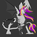 Size: 5792x5792 | Tagged: safe, artist:florarena-kitasatina/dragonborne fox, oc, oc only, oc:dark reflections, alicorn, chimera, dove, pony, absurd resolution, bat wings, cloven hooves, curved horn, feathered bat wings, hybrid wings, joke oc, leonine tail, may or may not be a demon, mirror, mottled coat, rainbow eyes, two-toned everything, unshorn fetlocks, why, wings