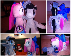 Size: 2412x1912 | Tagged: safe, artist:onlyfactory, artist:valmiiki, pinkie pie, oc, oc:chopsticks, earth pony, pegasus, pony, comic:wtb is this?, accessories, bootleg, date, dinner, food, hat, irl, photo, pinkamena diane pie, plot, plushie, rice, shipping, wing hands
