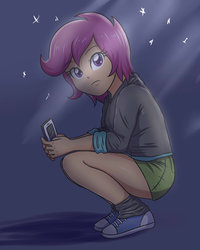 Size: 1024x1280 | Tagged: safe, artist:sumin6301, scootaloo, equestria girls, beautiful, clothes, converse, cute, female, hoodie, iphone, legs, miniskirt, shoes, skirt, skirtaloo, socks, squatting, thighs
