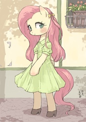 Size: 2480x3508 | Tagged: safe, artist:yanamosuda, fluttershy, pegasus, pony, semi-anthro, arm hooves, bipedal, blushing, bow, clothes, cute, dress, female, hair bow, looking at you, mare, shoes, shyabetes, solo