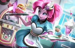 Size: 1545x1000   Tagged: safe, artist:imdrunkontea, pinkie pie, coinky-dink world, eqg summertime shorts, equestria girls, equestria girls series, pinkie pie: snack psychic, apron, aside glance, beautiful, burger, cafe, carhop, cheeseburger, clothes, cup, cupcake, cute, diapinkes, diner, dress, fast food, female, food, grin, hamburger, hat, huggable, jukebox, milkshake, record, roller skates, server pinkie pie, smiling, soda, solo, straw, waitress