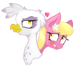 Size: 1756x1556 | Tagged: safe, artist:paskanaakka, derpibooru exclusive, gilda, lily, lily valley, earth pony, griffon, pony, blushing, bust, crack shipping, ear fluff, female, flower, flower in hair, grin, heart, lesbian, lilda, mare, nervous, nervous grin, nose wrinkle, portrait, shipping, simple background, smiling, transparent background, unamused