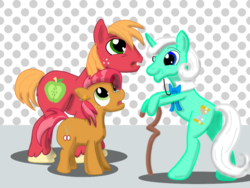 Size: 1024x768 | Tagged: artist:sixes&sevens, babs seed, big macintosh, cane, derpibooru exclusive, doctor who, doctor whooves, first doctor, monocle, older babs seed, pony, safe, time turner
