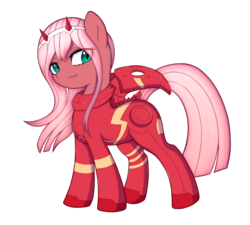 Size: 2500x2250 | Tagged: safe, artist:kas92, earth pony, pony, bodysuit, darling in the franxx, devil horns, fangs, female, headband, horns, lidded eyes, looking at you, mare, ponified, simple background, smiling, smirk, solo, transparent background, windswept mane, zero two (darling in the franxx)