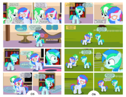 Size: 3186x2451 | Tagged: safe, artist:cyanlightning, oc, oc only, oc:azure lightning, oc:cyan lightning, oc:emerald lightning, pegasus, pony, unicorn, comic:summer colors, comic:summer colors: the starting point, book, bookshelf, boop, brother and sister, carpet, clothes, colt, comic, cup, cupcake, female, fence, filly, food, glasses, grass, high res, levitation, magic, male, scarf, sleeping, speech bubble, table, tea, teacup, teapot, telekinesis, television, tree, vector, window, yawn