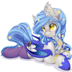 Size: 1600x1600 | Tagged: safe, artist:pvrii, oc, oc only, oc:midnight radiance, bat pony, pony, bat pony oc, bat wings, bracelet, chest fluff, clothes, colored hooves, colored wings, cute, digital art, ear fluff, ear piercing, earring, ethereal mane, female, lightly watermarked, mare, ocbetes, open mouth, piercing, prone, simple background, socks, solo, starry mane, thigh highs, transparent background, unshorn fetlocks, watermark