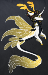 Size: 1914x3000 | Tagged: safe, artist:australian-senior, oc, oc only, oc:niomedes invictus, alicorn, dracony, hybrid, kirin, merpony, pony, seapony (g4), kirindos, alternate universe, antlers, colored hooves, colored sclera, curved horn, female, glados, golden eyes, gray background, hair bun, mare, portal (valve), seaponified, simple background, solo, species swap