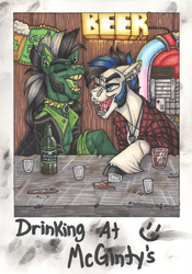 Size: 1500x2147 | Tagged: safe, artist:rottenroadkill, oc, oc:scotch macmanus, oc:vilevick, pony, alcohol, bar, barbell piercing, beer, beer bottle, buddies, clothes, collar, draft horse, drinking, drunk, ear piercing, earring, epaulettes, fangs, flannel, glass, ice cube, jacket, jewelry, laughing, leather jacket, male, marker drawing, mohawk, necklace, nose piercing, nose ring, piercing, polaroid, popped collar, shot glass, sideburns, spiked collar, spilled drink, stallion, table, traditional art, unshorn fetlocks, whiskey