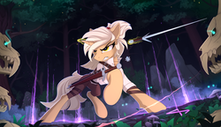 Size: 2500x1442   Tagged: safe, artist:yakovlev-vad, oc, oc only, pony, unicorn, adventurer, clothes, fantasy class, female, fight, fighting stance, forest, glowing horn, gritted teeth, magic, mare, mushroom, raised hoof, raised leg, rogue, skull, sword, telekinesis, the witcher, the witcher 3, warrior, weapon
