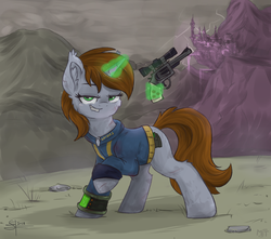 Size: 1499x1328   Tagged: safe, artist:airfly-pony, artist:haruhi-il, oc, oc only, oc:littlepip, pony, unicorn, fallout equestria, apocalypse, blood, brown mane, brown tail, canterlot, clothes, cute, ear fluff, fallout, fanfic, fanfic art, female, fluffy, glowing horn, gray coat, green eyes, ground, gun, handgun, hooves, horn, levitation, lidded eyes, little macintosh, looking at you, magic, mare, pink cloud (fo:e), pipbuck, raised hoof, rcf community, revolver, smiling, solo, stone, teeth, telekinesis, vault suit, wasteland, weapon