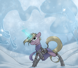 Size: 1953x1700 | Tagged: safe, artist:sinrar, oc, pony, unicorn, windigo, armor, blizzard, clothes, female, magic, scarf, snow, snowfall