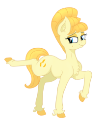 Size: 3320x3923 | Tagged: safe, artist:paskanaakka, derpibooru exclusive, aunt orange, earth pony, pony, beehive hairdo, chest fluff, colored hooves, eyeshadow, female, lidded eyes, makeup, mare, nose wrinkle, raised hoof, simple background, smiling, solo, transparent background, unshorn fetlocks