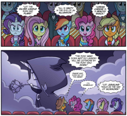 Size: 1029x938 | Tagged: safe, artist:tonyfleecs, idw, applejack, fluttershy, pinkie pie, rainbow dash, rarity, pony, spoiler:comic, spoiler:comic66, clothes, comic, cropped, dress, female, flower, flower in mouth, gala dress, mare, meme origin, mouth hold, movie, official comic, speech bubble, whispering