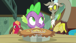 Size: 1280x720 | Tagged: big macintosh, discord, draconequus, dragon, finnish, food, male, nick confalone, opening credits, pie, pony, safe, screencap, spike, stallion, the break up breakdown, trio