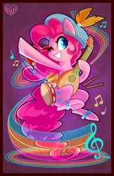 Size: 1200x1854 | Tagged: safe, artist:meekcheep, pinkie pie, earth pony, pony, bard, bard pie, drumsticks, fantasy class, feather, female, hat, jingle bells, lute, mare, music notes, musical instrument, solo, tambourine