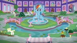 Size: 1280x720 | Tagged: background pony, bench, bon bon, book, bridge, carrot top, cherry cola, cherry fizzy, clever musings, daisy, female, florina tart, flower, flower wishes, flying, fountain, golden harvest, gramophone, hair bun, lily, lily valley, magic, mare, non-compete clause, pegasus, pony, rainbow dash, royal riff, safe, sassaflash, school of friendship, screencap, slate sentiments, spoiler:s08e09, strawberry scoop, sugar cookie, sugar maple, summer meadow, sunglasses, sweetie drops, unnamed pony, violet twirl