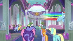 Size: 1280x720   Tagged: safe, screencap, auburn vision, berry blend, berry bliss, berry punch, berryshine, citrine spark, fire quacker, huckleberry, mistmane, november rain, peppermint goldylinks, rainbow dash, sassaflash, star swirl the bearded, earth pony, pegasus, pony, unicorn, non-compete clause, back of head, background pony, bust, butt, crystal, female, flying, friendship student, glowing horn, hallway, levitation, magic, magic aura, mare, plot, rainbow trail, school of friendship, speed trail, telekinesis