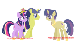 Size: 976x562 | Tagged: safe, artist:lavaroses, comet tail, twilight sparkle, alicorn, pony, big crown thingy, cometlight, family, female, jewelry, male, offspring, parent:comet tail, parent:twilight sparkle, parents:cometlight, regalia, shipping, simple background, straight, twilight sparkle (alicorn), white background