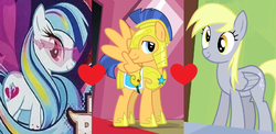 Size: 1102x539 | Tagged: artist:themexicanpunisher, derpsentry, derpy hooves, female, flash sentry, flash sentry gets all the mares, love triangle, male, ot3, pony, safe, senata, shipping, shipping domino, sonata dusk, straight