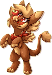 Size: 1148x1666 | Tagged: apple, artist:crunchycrowe, balancing, bandana, cute, female, food, full body, griffon, leonine tail, oc, oc:crunchy, paws, ponysona, red eyes, safe, simple background, solo, standing, tongue out, wings