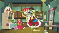 Size: 1280x720 | Tagged: safe, screencap, big macintosh, discord, spike, draconequus, dragon, earth pony, pony, the break up breakdown, animation error, cape, clothes, crown, discord scepter, jewelry, king discord, male, missing cutie mark, regalia, scepter, spoiler, stallion, twilight scepter
